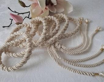 IVORY • Satin Cord Waist Belt Cord White Gold Belt Braided Belt Pearl Adjustable Belt Vintage