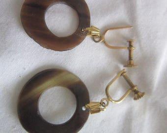 Vintage Retro Screw back Dangle Earrings