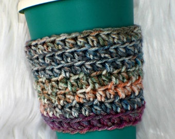 Crochet Coffee Mug Sleeve Cup Cozy Mug Cozy Coffee Lovers Gift Stocking Stuffer Coffee Mug Cozy Teacher Gift Shades of Purple Plum Pink Teal