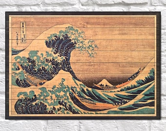 Japanese art print Wood wall art Japanese gift Housewarming gift for Men gift for Women gift for Husband gift for him Panel effect Wood art