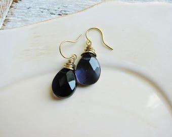 Purple Briolette Earrings, Wire Wrapped Earrings, Glass Briolette Earrings, Purple Glass Earrings, Teardrop Earrings