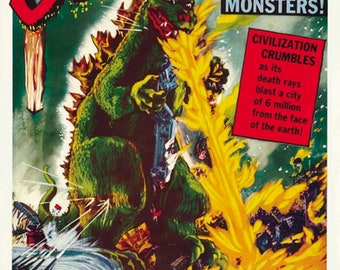 Godzilla King of the Monsters 1956 horror movie poster reprint 19x12.5 inches #3