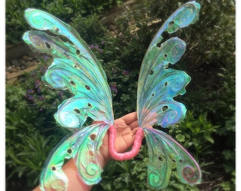 Adult/child Iridescent curly wire fairy wings realistic