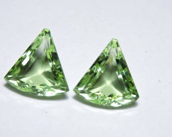2 Pcs Very Beautiful Apple Green Quartz Faceted Fancy Shaped Loose Gemstone Size 18X18 MM