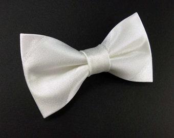 Clip on bridal white satin bow tie – adult size – wedding bowtie