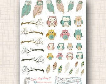 Perched Pastel Owls Planner Stickers | 35 Stickers Total | #SD07