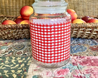 Glass Jar Apothecary Jar Lidded Jar Red Gingham Red Kitchen Canister Glass Canister Vintage Kitchen Country Kitchen Vintage Farmhouse Decor