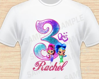 Any Name and Age for Birthday Girl. Shimmer and Shine Digital File. Personalized Family Shirts, Birthday Party. Iron on Transfer Printable 3