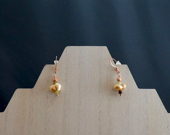 Freshwater Pearl, Green Garnet and Copper Earrings