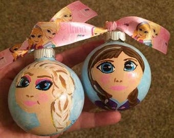 Elsa or Ana hand painted Christmas ornament
