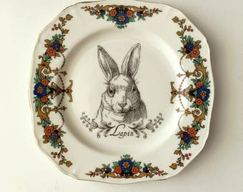 Vintage Rabbit Hare Plate Altered Art