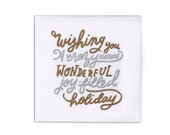 14 x 14 cm (5.5 x 5.5 in) Card - Wishing You a Crazy Wonderful Holiday - Hand Drawn - Metallic - Seasons Greetings Card - Australian Made