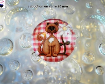 1 cabochon clear 20mm themed my little cat gingham pink