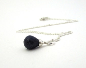 Blue sapphire necklace, September birthstone, sterling silver sapphire pendant, dark blue necklace, navy blue drop pendant, gemstone jewelry