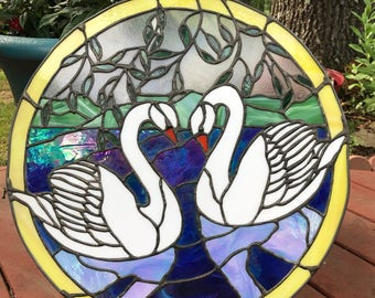 Handmade stained glass swans