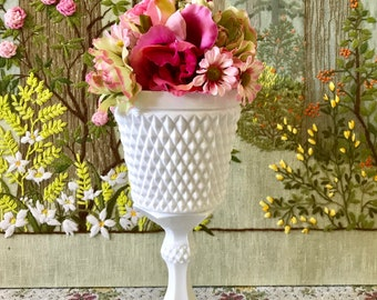 Milk Glass Bowl Hobnail Milk Glass Vase for Wedding Centerpiece Vase White Milk Glass Candy Dish Milk Glass Pedestal Bowl Footed Bowl White