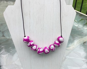 Boho Polymer Necklace - Purple Floral