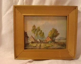 Vintage Print of Village Scene