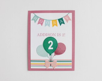 Hip Hip Hooray Birthday Invitation (set of 10) / Banner and Balloon / Multi-Colored Balloons / Balloon invitation