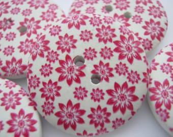 """5 Red Flower Buttons 25mm (1"""" ) Wood Red White Focal Button Floral Clothes Buttons Sewing Knitting Accessories"""