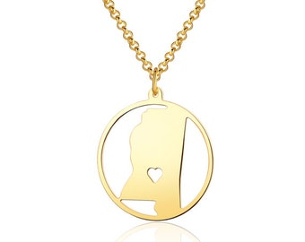 Mississippi Necklace - 18K Gold plated Mississippi Map Pendant - State Necklace -  Map necklace with circle - Can be made at any State