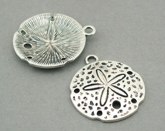 Sand Dollar Shell Charms large Antique Silver 2pcs base metal pendant beads 30X35mm CM0774S