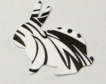 Black and White Damask Bunny  Hand Punched Die Cuts, 50 Pieces