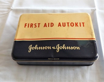 60's Vintage Johnson & Johnson First Aid Autokit for Car / Automobile Kit with some Supplies
