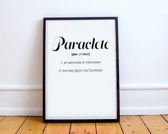 Paraclete Poster - Print, Digital Print, Paraclete, Holy Spirit, Inspiration, Quote