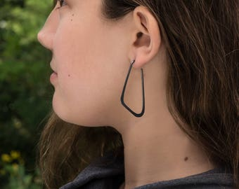 Sterling Silver Hoop Earrings, Geometric, Low D Oxidized Flat Black