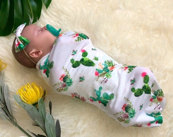 Baby Girl Cactus Swaddle Sack Set with Bow, Swaddle, Cocoon, Sleep Sack, Swaddle, Newborn, Blanket, Headband, Top Knot