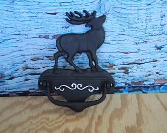 """Cast iron Elk Door Knocker  6.25""""Wx8""""Hx1""""D"""
