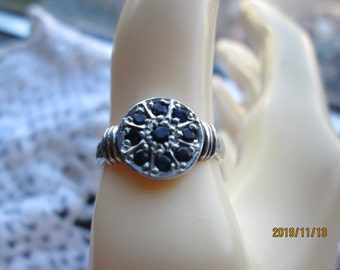 Vintage Sterling Silver 925 Genuine Black Diamond Ring Size 6.25, Wt. 3.2 Grams, Tested Positive w/Diamond Selector II.
