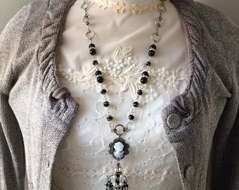 Repurposed Necklace - Old-fashioned Necklace - Cameo Necklace
