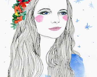 Boho Gypsy Flower Crown Illustrated Fashion Portrait Poster Print, Sky Blue, Stars, Pretty Beautiful Sweet Young Woman, Long Hair Floral