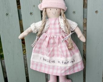 I believe in fairies handmade cloth doll nursery gift