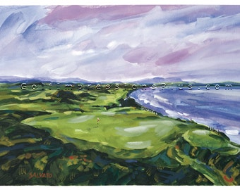Golf Art. Golf Gift. Golf Wall Decor. Ballybunion Golf Club, Ireland. Print of original watercolor painting.