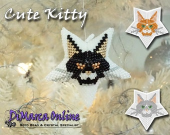 Beading Pattern/Tutorial Cute Kitty 3D PEYOTE STAR + Basic Instructions