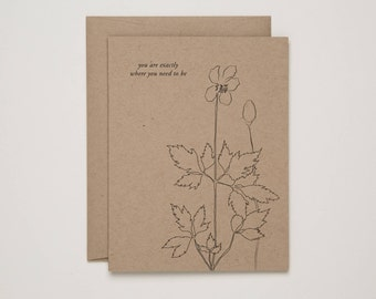 you are exactly where you need to be - encouragement inspirational friendship - botanical illustration letterpress cards Of Note Stationers