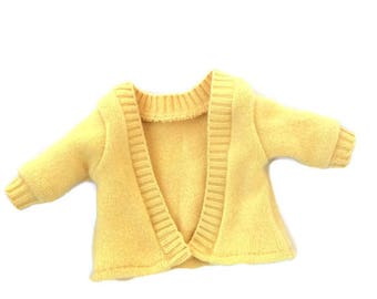 18 Inch Doll Sweater, Yellow Cashmere Sweater, Cardigan Sweater, 18 Inch Doll Clothes, Girl or Boy Doll Sweater, Upcycled