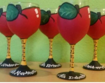 Apple Wine Glasses Ruler Stem