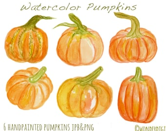 Watercolor Clipart - Watercolor Pumpkins Clip Art - Harvest Thanksgiving Clipart - Hand painted