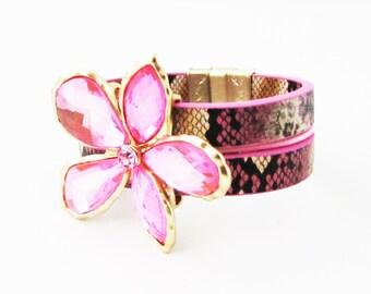 Pink Flower Leather Cuff Bracelet, Hot Pink Bracelet, Pink Floral Bracelet, Pink Cuff Bracelet, Large Flower Bracelet, Pink Flower Bracelet