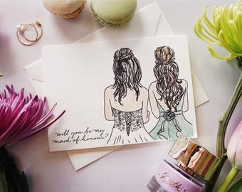 Will You Be My Maid Of Honour / Bridesmaid? Greeting Card