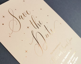 Rose gold foiled | Wedding Save the Date | Pink blush wedding stationery