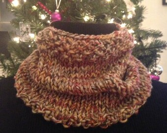 Rust and tan knit cowl
