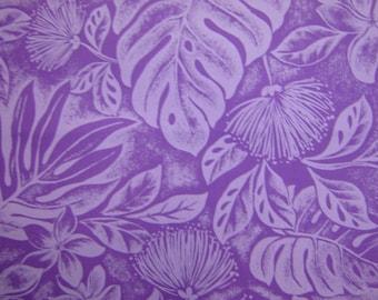 Hawaiian Fabric - Purple Floral Print With Leaves on Purple