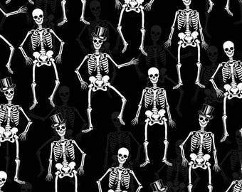 Halloween Fabric - Fright Night White & Metallic Skeleton - Henry Glass YARD