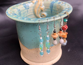 Pottery jewelry Bowl -Earring Bowl -Jewelry Organizer - Earring Hanger - Gifts for Her - Mother's Day- Coastal Chic- Seahorse