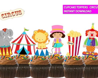 Circus Cupcake toppers/ Circus Printables/ Circus Cake Toppers/ Circus Party/ Instant Download/ You Print 60% OFF